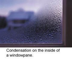 condensation on the inside of a windowpane